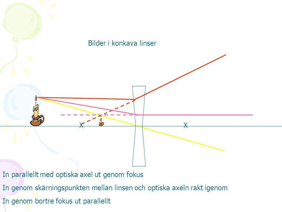 Bilder i konkava linser XX In parallellt med optiska axel ut genom fokus In genom skärningspunkten mellan linsen och optiska axeln rakt igenom In geno