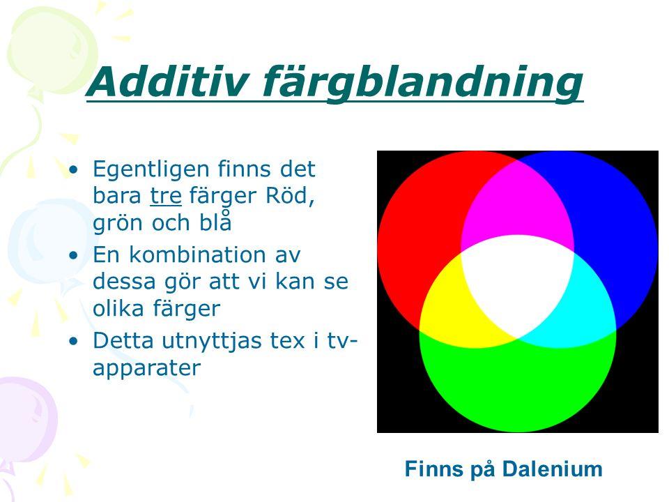 Additiv färgblandning Egentligen finns det bara tre färger Röd, grön och blå En kombination av dessa gör att vi kan se olika färger Detta utnyttjas tex i tv- apparater Finns på Dalenium