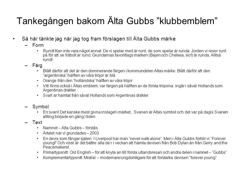 Tankegången bakom Älta Gubbs klubbemblem Så här tänkte jag när jag tog fram förslagen till Älta Gubbs märke –Form Rund.