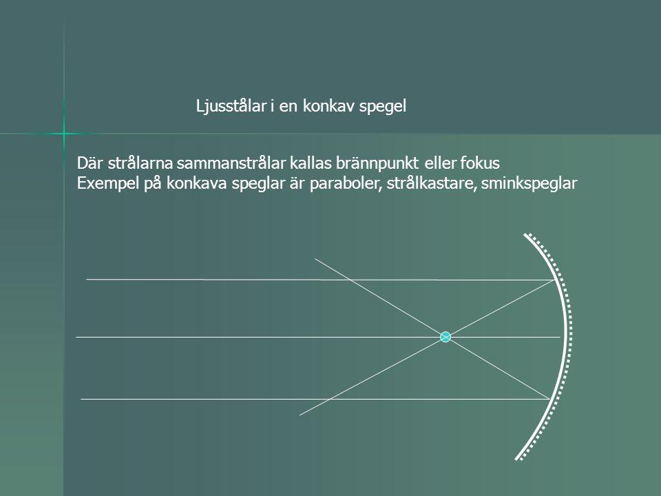 Ljusstålar i en konkav spegel Där strålarna sammanstrålar kallas brännpunkt eller fokus Exempel på konkava speglar är paraboler, strålkastare, sminkspeglar