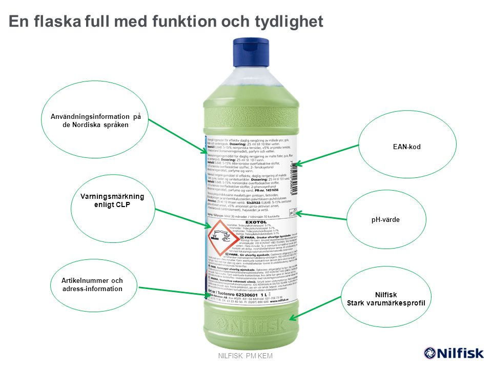 Varningsmärkning enligt CLP Användningsinformation på de Nordiska språken d Nilfisk Stark varumärkesprofil Artikelnummer och adress-information EAN-kod pH-värde En flaska full med funktion och tydlighet NILFISK PM KEM