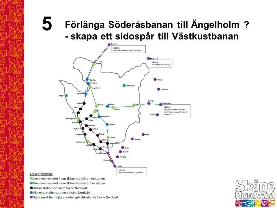 5 Förlänga Söderåsbanan till Ängelholm ? - skapa ett sidospår till Västkustbanan