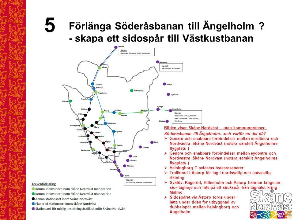 5 Förlänga Söderåsbanan till Ängelholm ? - skapa ett sidospår till Västkustbanan Bilden visar Skåne Nordväst – utan kommungränser. Söderåsbanan till Ä