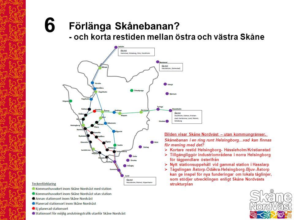 6 Förlänga Skånebanan? - och korta restiden mellan östra och västra Skåne Bilden visar Skåne Nordväst – utan kommungränser. Skånebanan i en ring runt