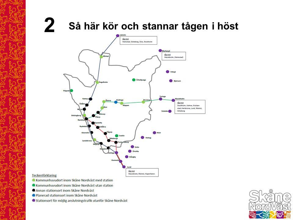 Gulmarkerade turer körs hela sträckan Göteborg-Malmö Blå- och gråmarkerade turer körs endast del av sträckan Tåg på sträckan Göteborg - Malmö