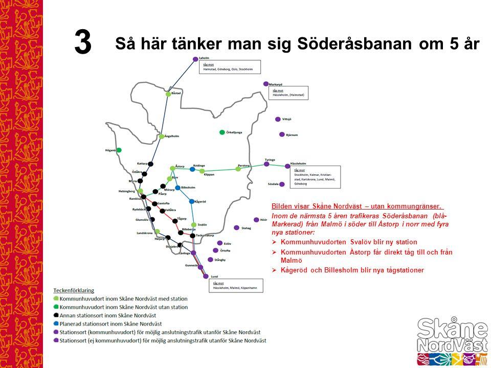 Bilden visar Skåne Nordväst – utan kommungränser. Inom de närmsta 5 åren trafikeras Söderåsbanan (blå- Markerad) från Malmö i söder till Åstorp i norr