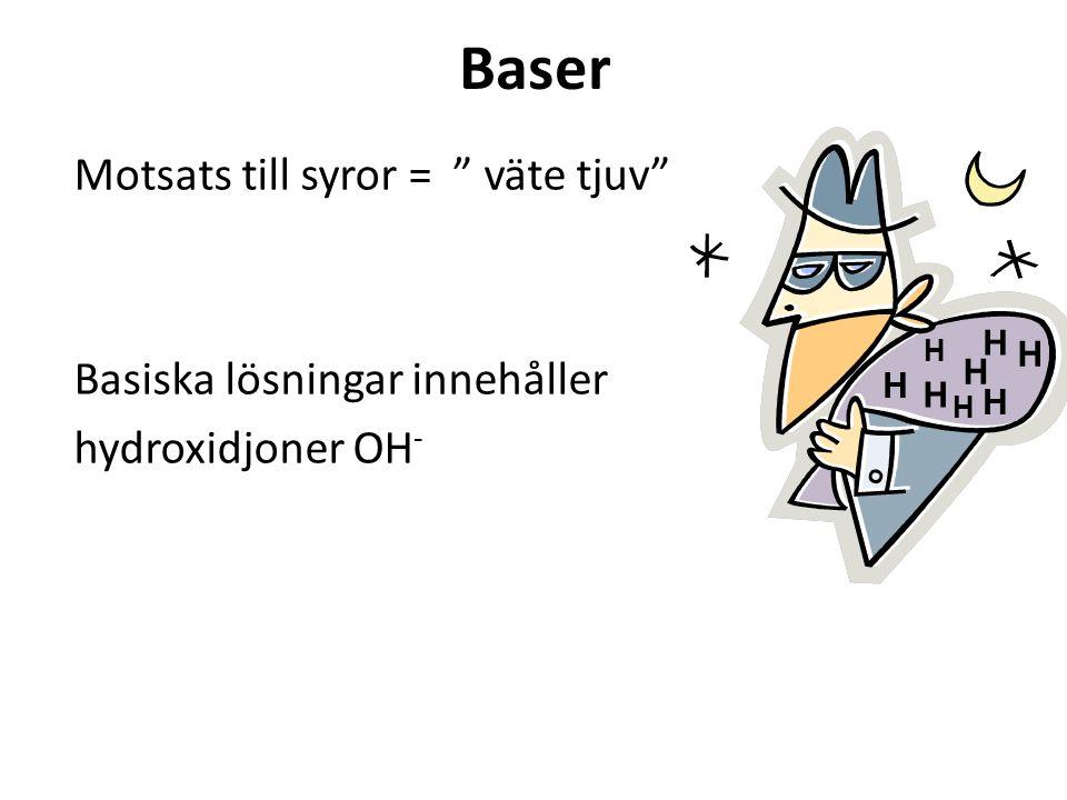 Baser Motsats till syror = väte tjuv Basiska lösningar innehåller hydroxidjoner OH - H H H H H H H H