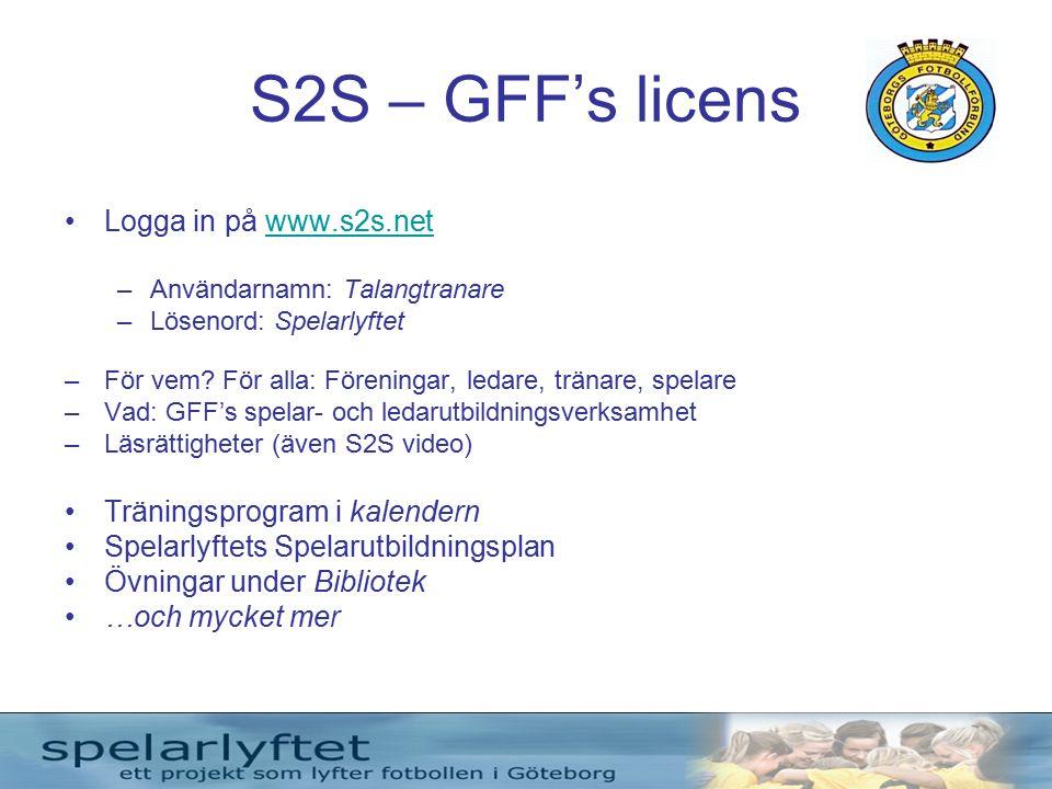 S2S – GFF's licens Logga in på www.s2s.netwww.s2s.net –Användarnamn: Talangtranare –Lösenord: Spelarlyftet –För vem.