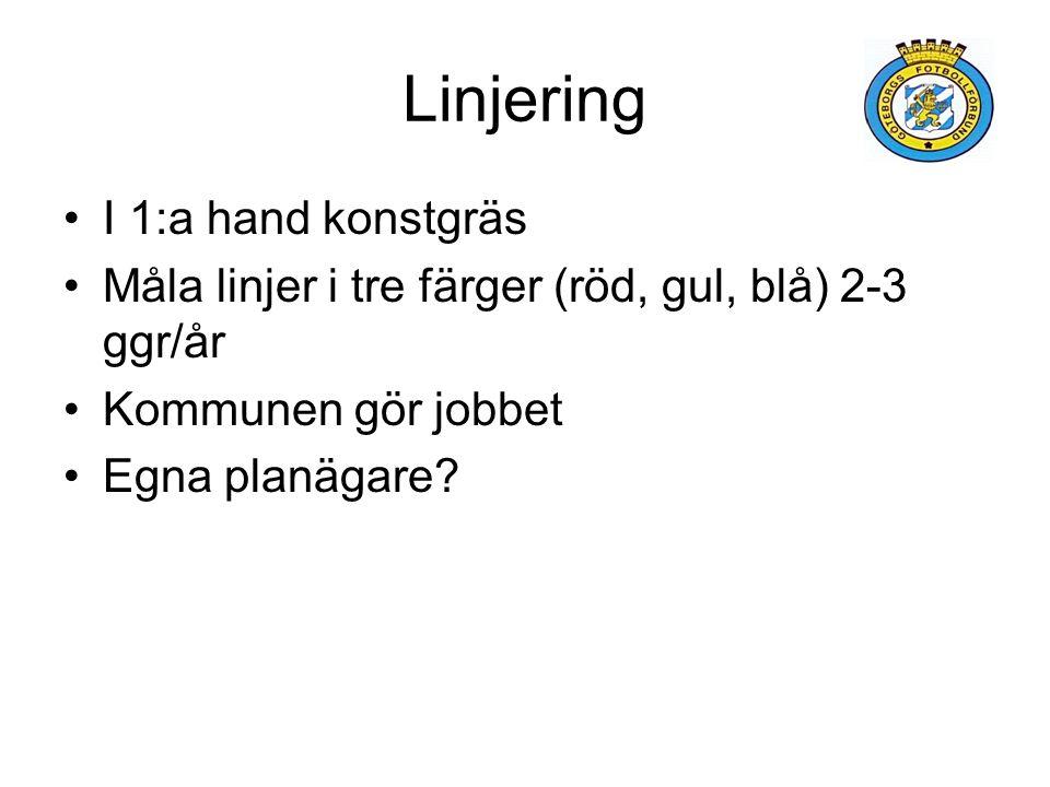Linjering I 1:a hand konstgräs Måla linjer i tre färger (röd, gul, blå) 2-3 ggr/år Kommunen gör jobbet Egna planägare