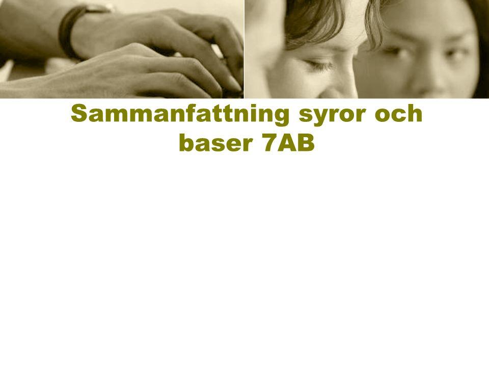 Definition av en syra En syra frigör vätejoner, H +.