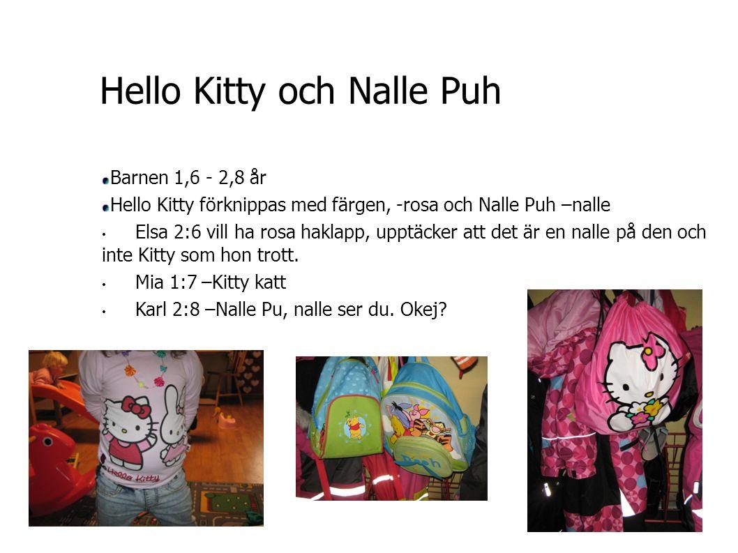 Hello Kitty och Nalle Puh Barnen 1,6 - 2,8 år Hello Kitty förknippas med färgen, -rosa och Nalle Puh –nalle Elsa 2:6 vill ha rosa haklapp, upptäcker att det är en nalle på den och inte Kitty som hon trott.