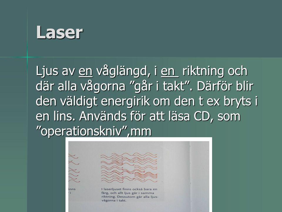Laser Ljus av en våglängd, i en riktning och där alla vågorna går i takt .