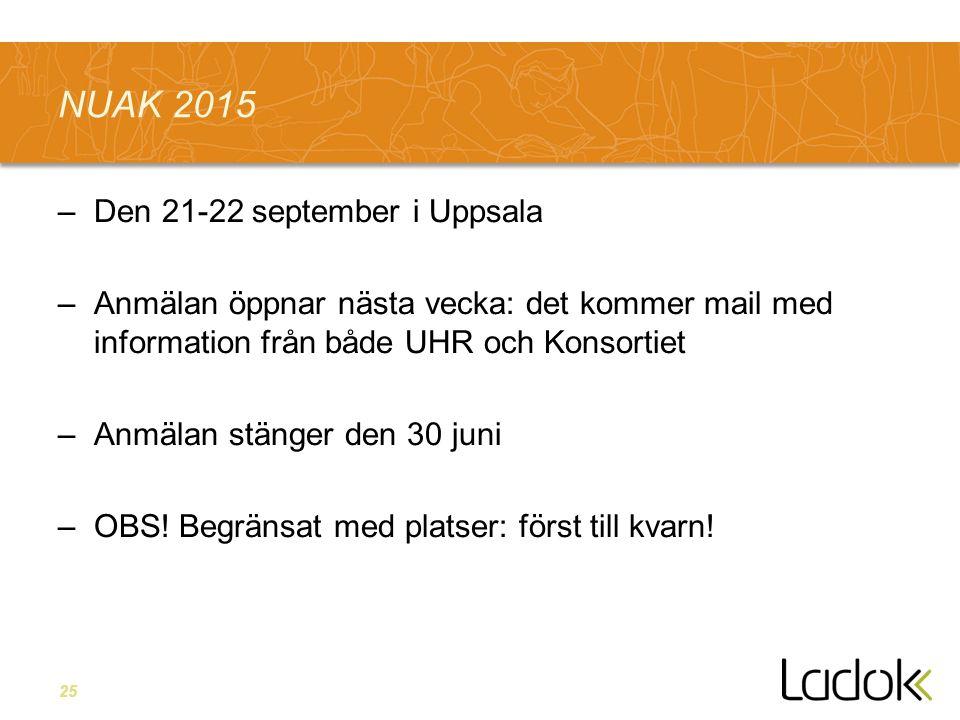 25 NUAK 2015 –Den 21-22 september i Uppsala –Anmälan öppnar nästa vecka: det kommer mail med information från både UHR och Konsortiet –Anmälan stänger den 30 juni –OBS.