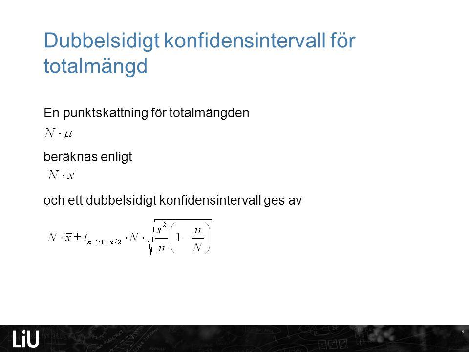 4 Dubbelsidigt konfidensintervall för totalmängd En punktskattning för totalmängden beräknas enligt och ett dubbelsidigt konfidensintervall ges av 4