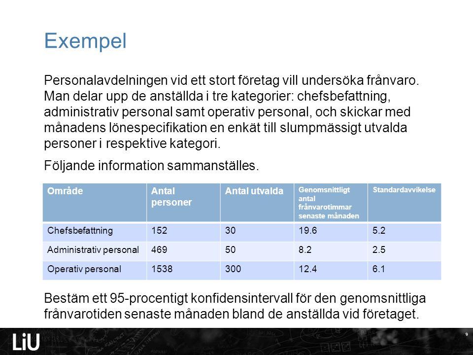 9 Exempel Personalavdelningen vid ett stort företag vill undersöka frånvaro.