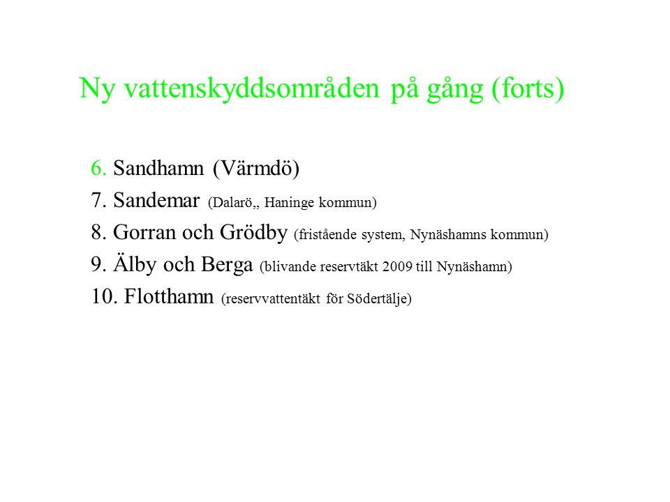 Behov av vattenskyddsområde 1.Gräddö (Norrtälje kommun) 2.