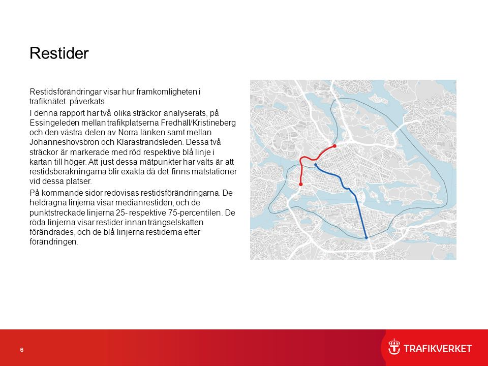 6 Restider Restidsförändringar visar hur framkomligheten i trafiknätet påverkats. I denna rapport har två olika sträckor analyserats, på Essingeleden