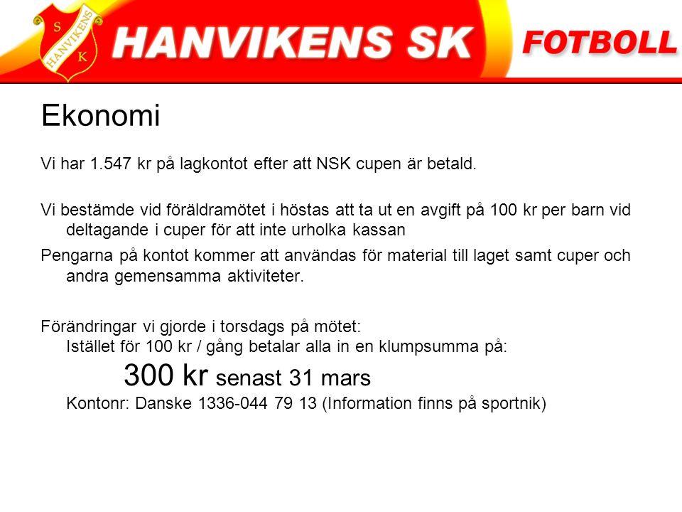Ekonomi Vi har 1.547 kr på lagkontot efter att NSK cupen är betald.