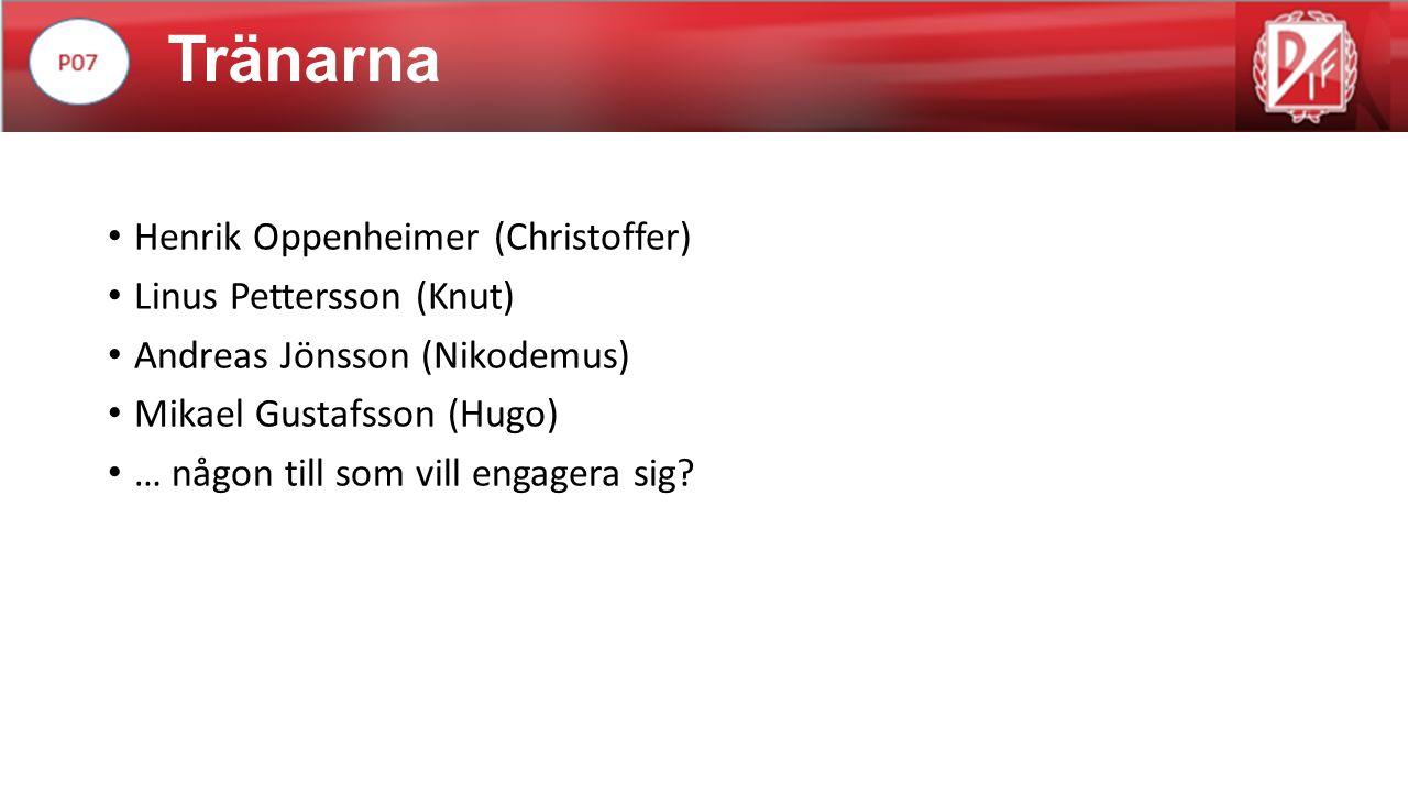 Tränarna Henrik Oppenheimer (Christoffer) Linus Pettersson (Knut) Andreas Jönsson (Nikodemus) Mikael Gustafsson (Hugo) … någon till som vill engagera sig