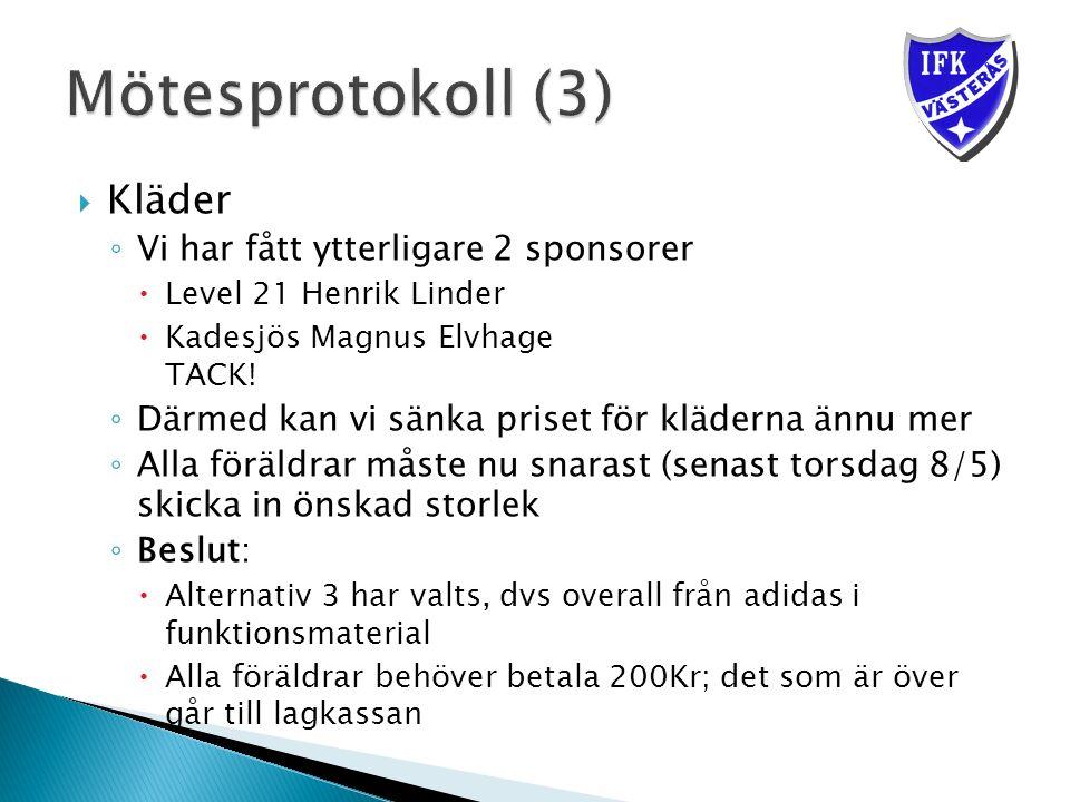  Kläder ◦ Vi har fått ytterligare 2 sponsorer  Level 21 Henrik Linder  Kadesjös Magnus Elvhage TACK.