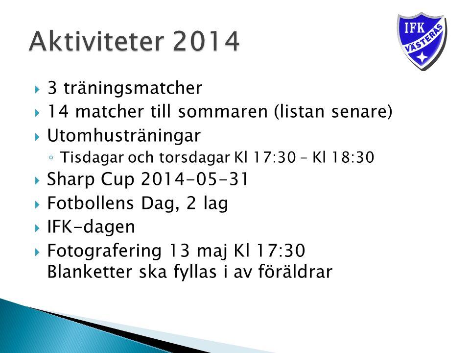  3 träningsmatcher  14 matcher till sommaren (listan senare)  Utomhusträningar ◦ Tisdagar och torsdagar Kl 17:30 – Kl 18:30  Sharp Cup 2014-05-31  Fotbollens Dag, 2 lag  IFK-dagen  Fotografering 13 maj Kl 17:30 Blanketter ska fyllas i av föräldrar