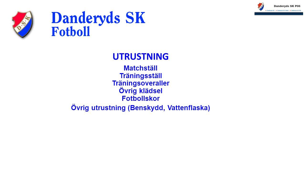 Matchställ Träningsställ Träningsoveraller Övrig klädsel Fotbollskor Övrig utrustning (Benskydd, Vattenflaska) UTRUSTNING