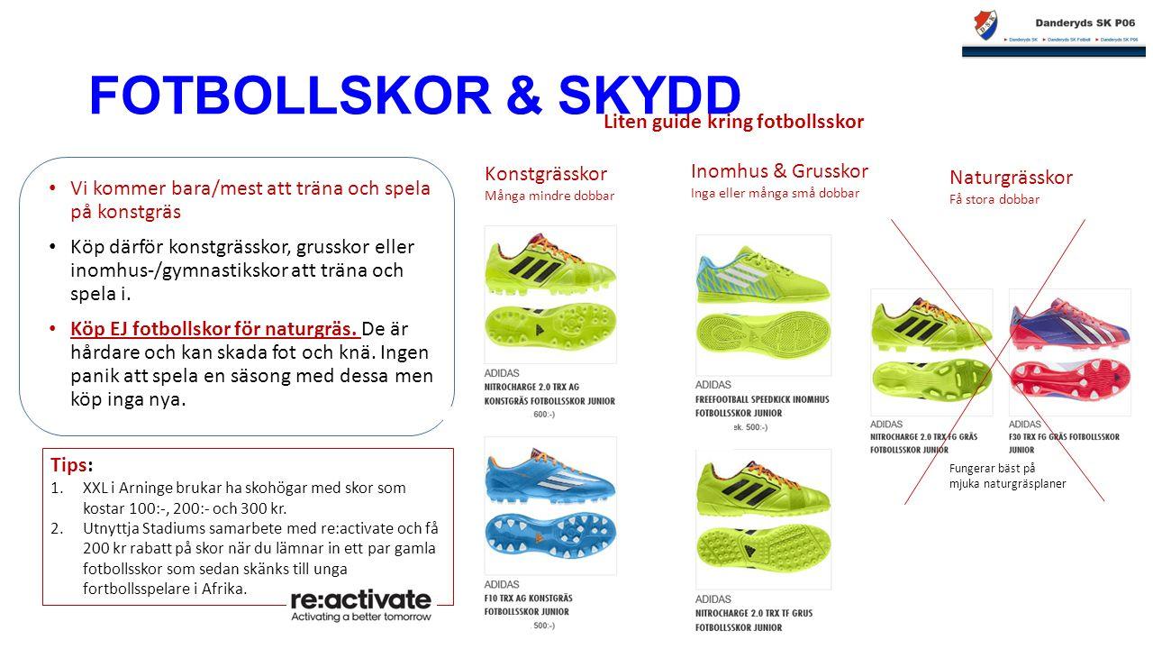 FOTBOLLSKOR & SKYDD Vi kommer bara/mest att träna och spela på konstgräs Köp därför konstgrässkor, grusskor eller inomhus-/gymnastikskor att träna och spela i.