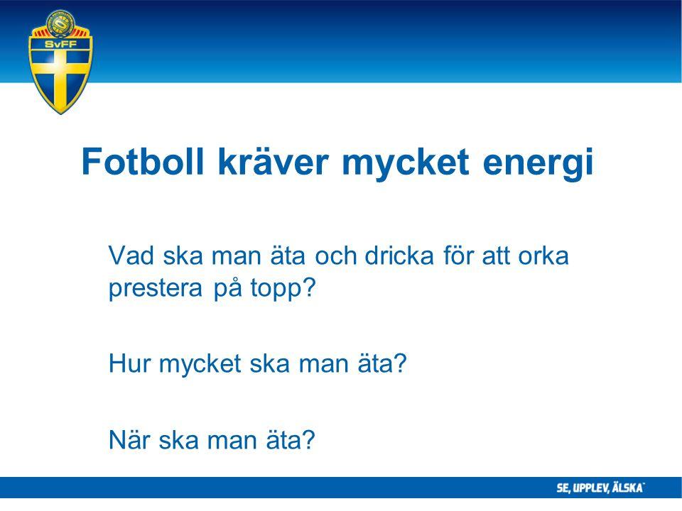 Fotboll kräver mycket energi Vad ska man äta och dricka för att orka prestera på topp.