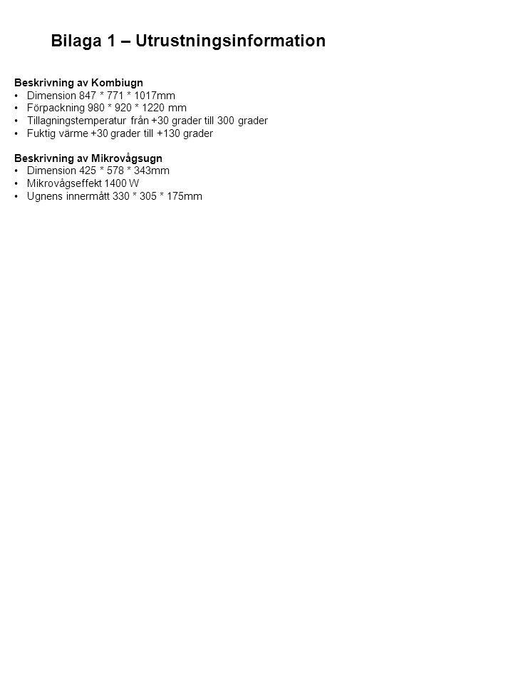 Bilaga 1 – Utrustningsinformation Beskrivning av Kombiugn Dimension 847 * 771 * 1017mm Förpackning 980 * 920 * 1220 mm Tillagningstemperatur från +30 grader till 300 grader Fuktig värme +30 grader till +130 grader Beskrivning av Mikrovågsugn Dimension 425 * 578 * 343mm Mikrovågseffekt 1400 W Ugnens innermått 330 * 305 * 175mm
