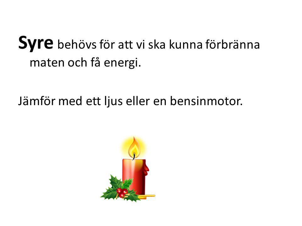 Syre behövs för att vi ska kunna förbränna maten och få energi. Jämför med ett ljus eller en bensinmotor.