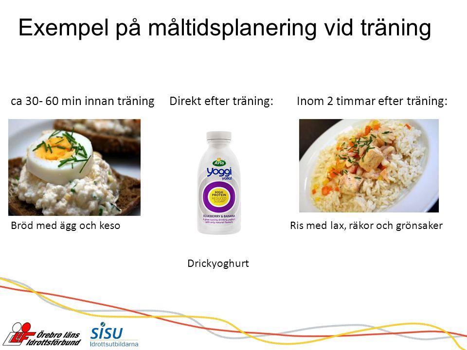 Exempel på måltidsplanering vid träning ca 30- 60 min innan träning Direkt efter träning: Inom 2 timmar efter träning: Bröd med ägg och kesoRis med lax, räkor och grönsaker Drickyoghurt