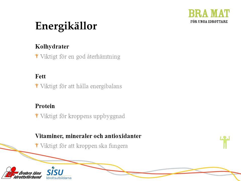 Energikällor Kolhydrater Viktigt för en god återhämtning Fett Viktigt för att hålla energibalans Protein Viktigt för kroppens uppbyggnad Vitaminer, mineraler och antioxidanter Viktigt för att kroppen ska fungera