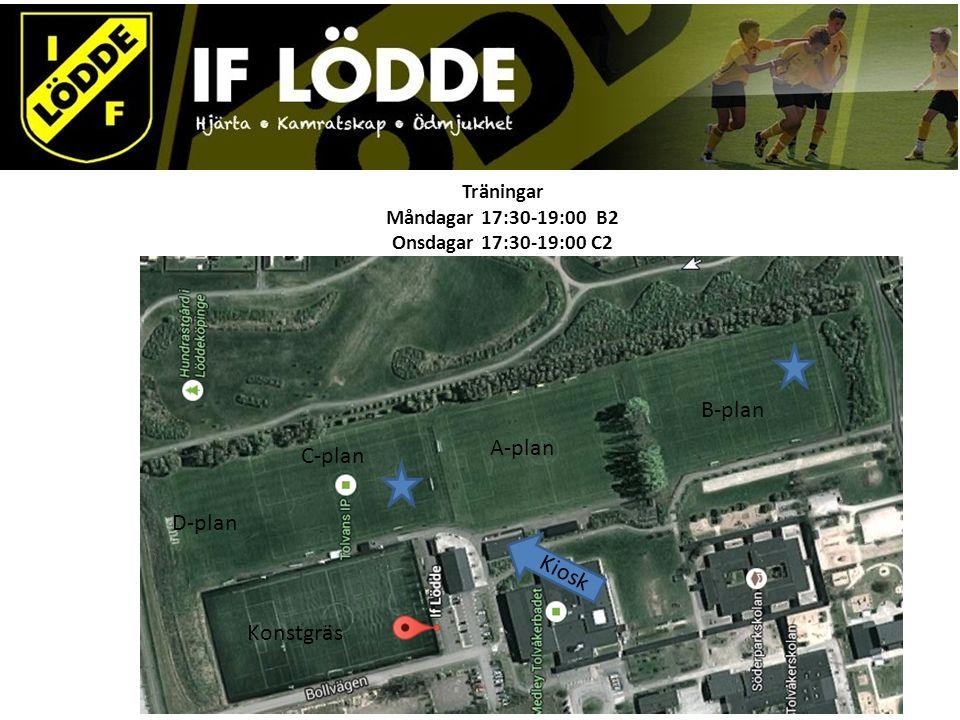 Träningar Måndagar 17:30-19:00 B2 Onsdagar 17:30-19:00 C2 A-plan C-plan B-plan D-plan Konstgräs Kiosk