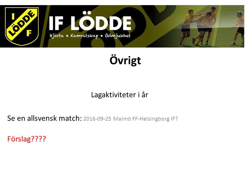 Övrigt Lagaktiviteter i år Se en allsvensk match: 2016-09-25 Malmö FF-Helsingborg IF? Förslag????