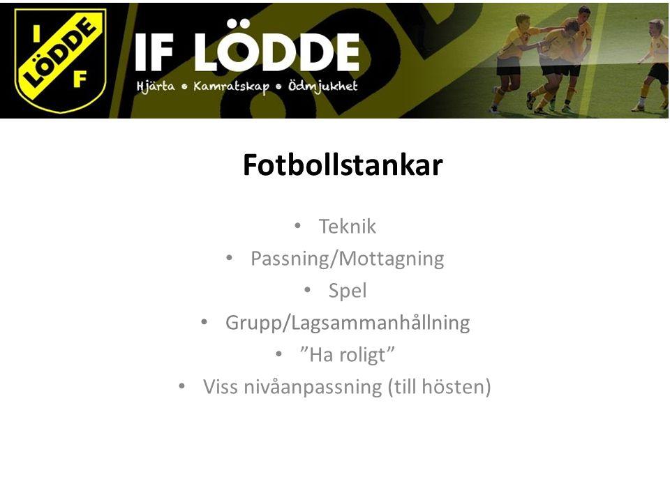 Fotbollstankar Teknik Passning/Mottagning Spel Grupp/Lagsammanhållning Ha roligt Viss nivåanpassning (till hösten)