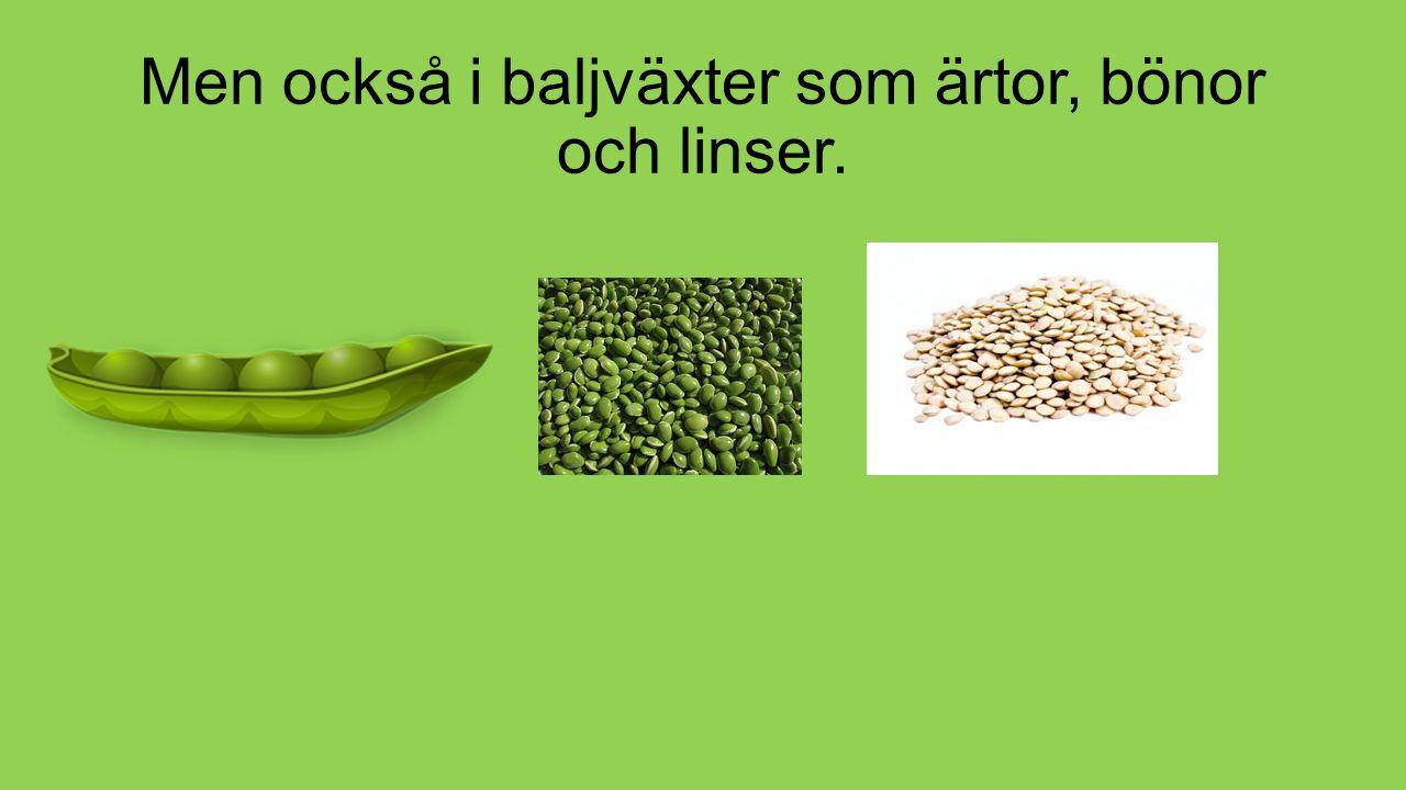 Men också i baljväxter som ärtor, bönor och linser.
