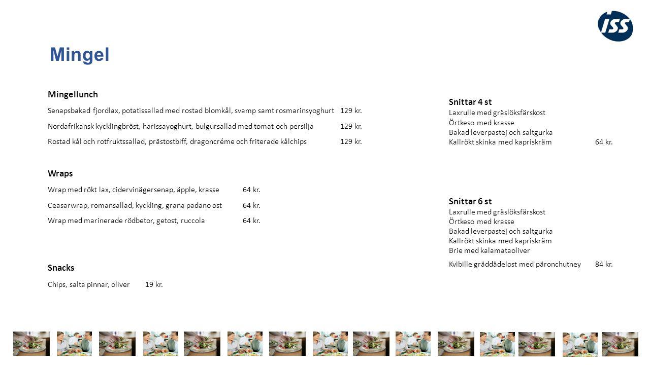 Mingel Mingellunch Senapsbakad fjordlax, potatissallad med rostad blomkål, svamp samt rosmarinsyoghurt 129 kr.