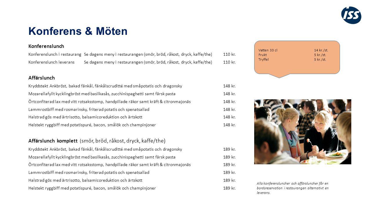 Konferens & Möten Konferenslunch Konferenslunch i restaurangSe dagens meny i restaurangen (smör, bröd, råkost, dryck, kaffe/the)110 kr.
