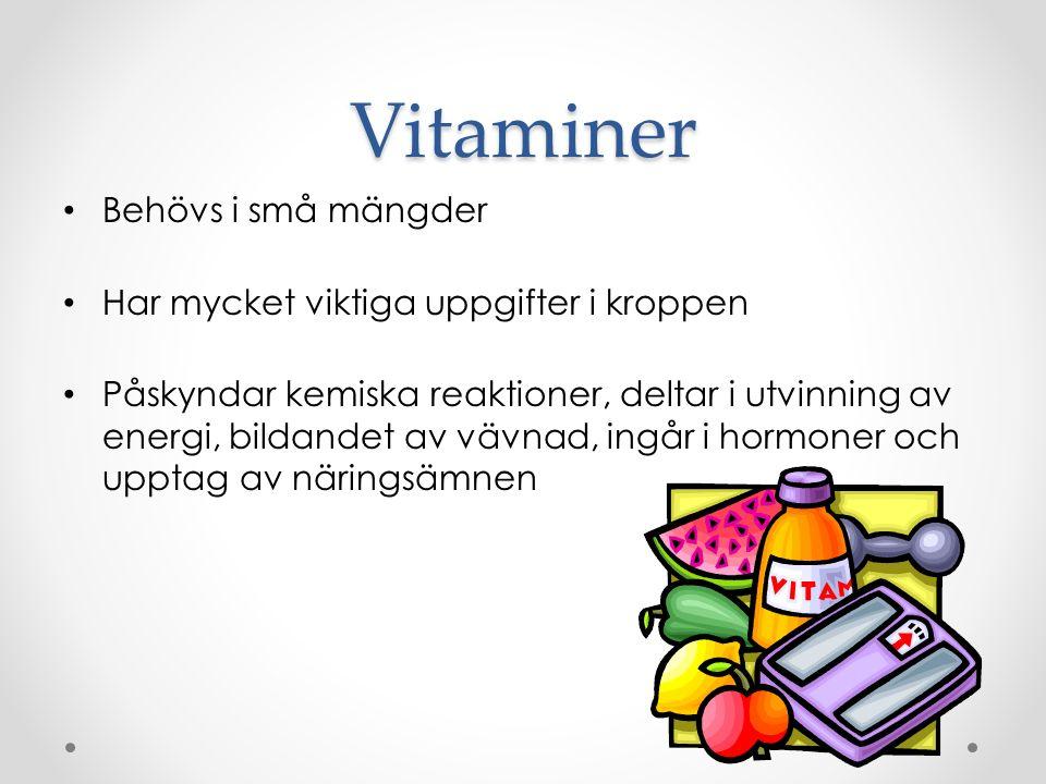 Vitaminer Behövs i små mängder Har mycket viktiga uppgifter i kroppen Påskyndar kemiska reaktioner, deltar i utvinning av energi, bildandet av vävnad, ingår i hormoner och upptag av näringsämnen