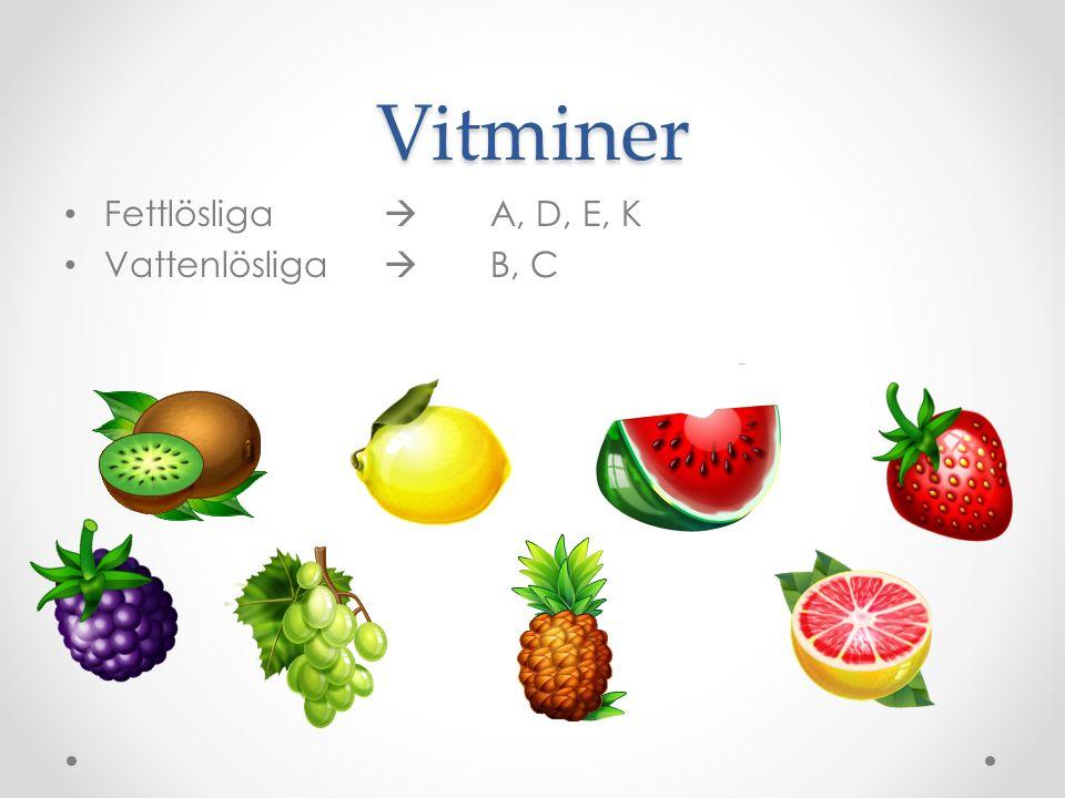 Vitminer Fettlösliga  A, D, E, K Vattenlösliga  B, C