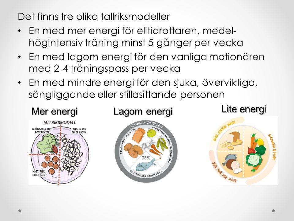 Det finns tre olika tallriksmodeller En med mer energi för elitidrottaren, medel- högintensiv träning minst 5 gånger per vecka En med lagom energi för den vanliga motionären med 2-4 träningspass per vecka En med mindre energi för den sjuka, överviktiga, sängliggande eller stillasittande personen Mer energi Lagom energi Lite energi