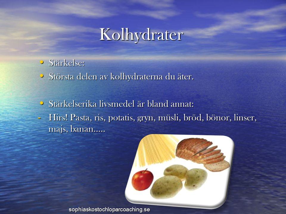 Kolhydrater Stärkelse: Stärkelse: Största delen av kolhydraterna du äter. Största delen av kolhydraterna du äter. Stärkelserika livsmedel är bland ann