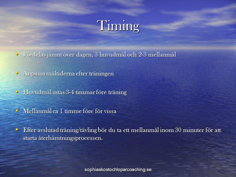 Timing Fördelas jämnt över dagen, 3 huvudmål och 2-3 mellanmål Fördelas jämnt över dagen, 3 huvudmål och 2-3 mellanmål Anpassa måltiderna efter träningen Anpassa måltiderna efter träningen Huvudmål intas 3-4 timmar före träning Huvudmål intas 3-4 timmar före träning Mellanmål ca 1 timme före för vissa Mellanmål ca 1 timme före för vissa Efter avslutad träning/tävling bör du ta ett mellanmål inom 30 minuter för att starta återhämtningsprocessen.