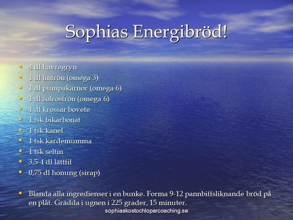 Sophias Energibröd! 4 dl havregryn 4 dl havregryn 1 dl linfrön (omega 3) 1 dl linfrön (omega 3) 1 dl pumpakärnor (omega 6) 1 dl pumpakärnor (omega 6)