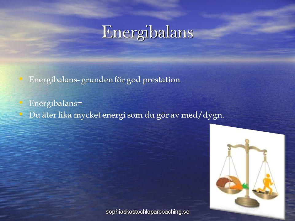 Energibalans Energibalans- grunden för god prestation Energibalans= Du äter lika mycket energi som du gör av med/dygn. sophiaskostochloparcoaching.se
