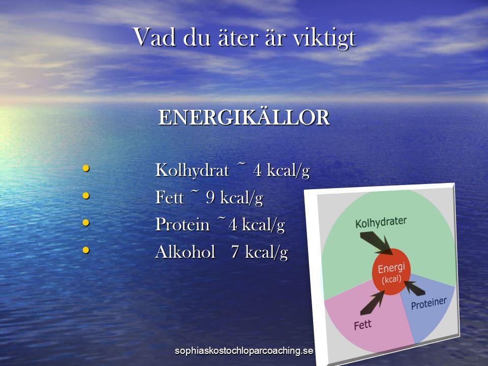 Vad du äter är viktigt ENERGIKÄLLOR Kolhydrat ~ 4 kcal/g Kolhydrat ~ 4 kcal/g Fett ~ 9 kcal/g Fett ~ 9 kcal/g Protein ~4 kcal/g Protein ~4 kcal/g Alkohol 7 kcal/g Alkohol 7 kcal/g sophiaskostochloparcoaching.se