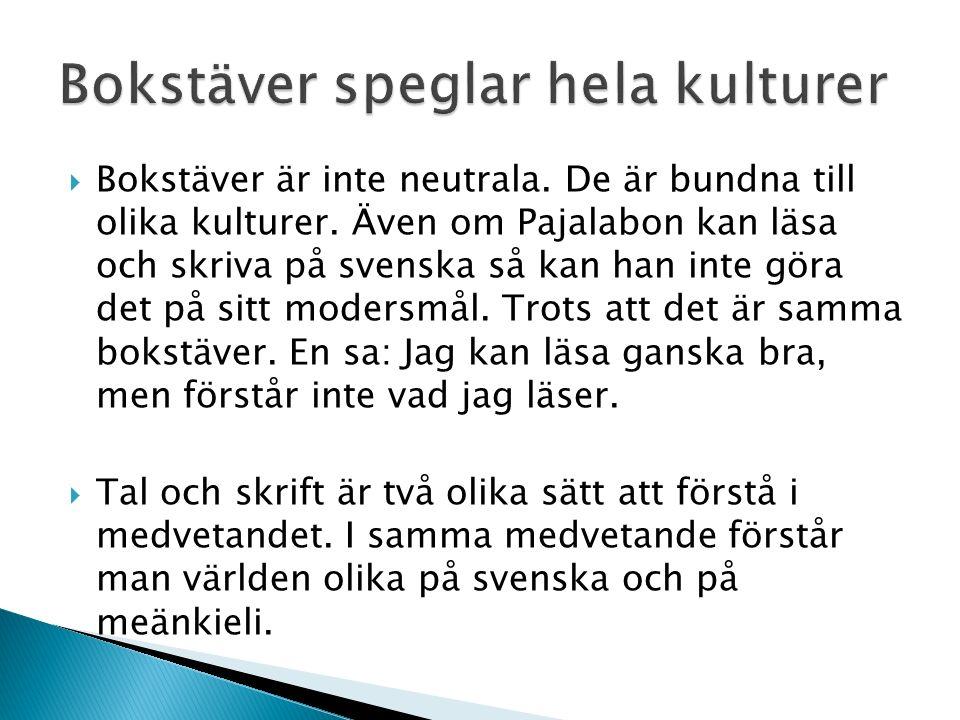 Livets träd förstår svenska dialekter, men lever ett eländigt liv i skuggan av det mäktiga skriftspråket svenska..