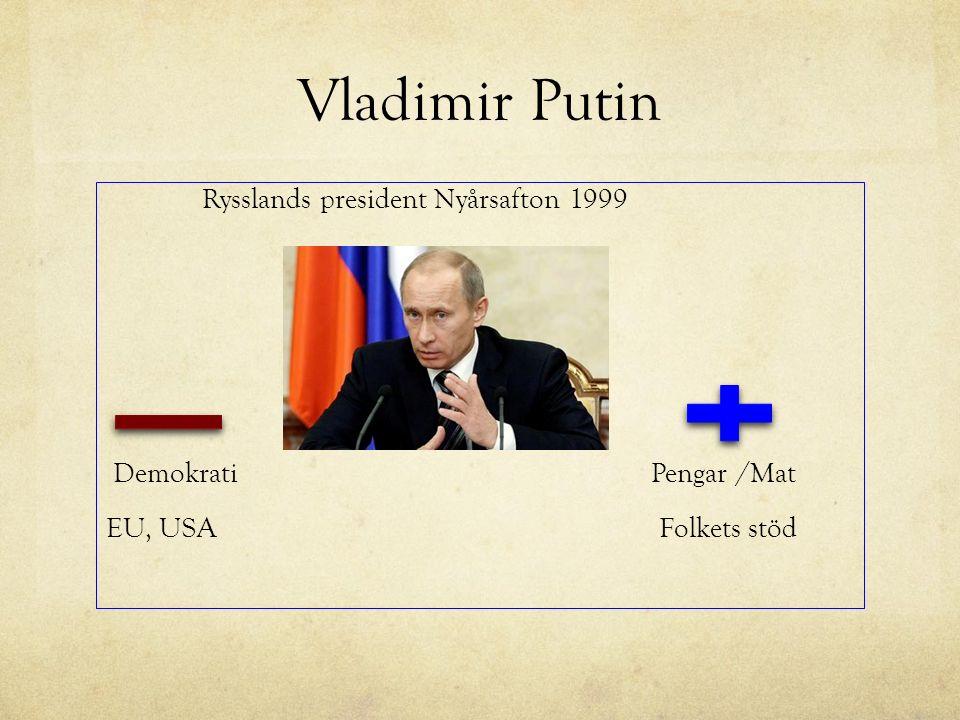 Vladimir Putin Rysslands president Nyårsafton 1999 Demokrati Pengar /Mat EU, USA Folkets stöd