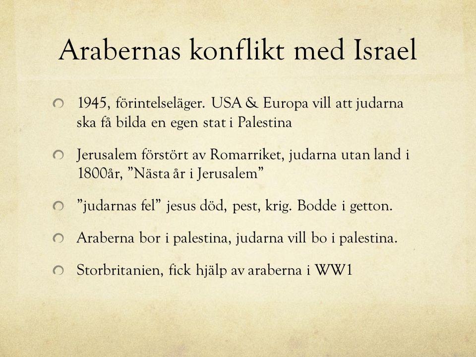 Arabernas konflikt med Israel 1945, förintelseläger. USA & Europa vill att judarna ska få bilda en egen stat i Palestina Jerusalem förstört av Romarri