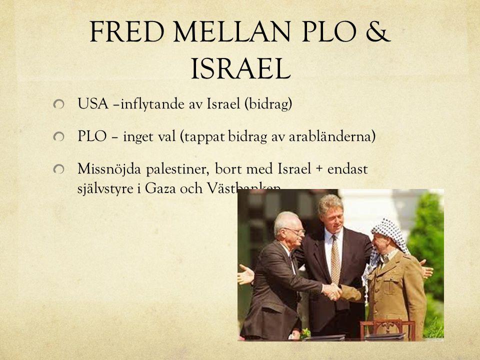 FRED MELLAN PLO & ISRAEL USA –inflytande av Israel (bidrag) PLO – inget val (tappat bidrag av arabländerna) Missnöjda palestiner, bort med Israel + endast självstyre i Gaza och Västbanken